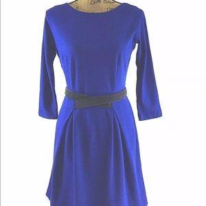 Anthropologie Dress XS Royal Blue velvet belt